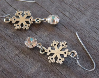 Titanium Earrings, Silver Snowflake with Crystal on Hypoallergenic Titanium Ear Wires