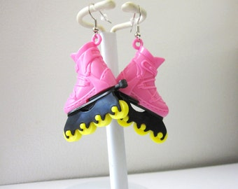 Roller Skate Earrings Hot Pink Yellow Roller Derby Accessory