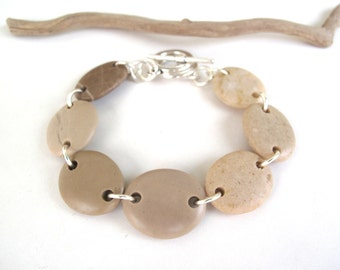 Beach Stone Bracelet River Rock Jewelry Mediterranean Beach Pebble Bracelet River Stone Natural Stone Rustic Jewelry Silver Cream DREAM