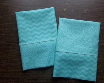Set of 2 Pillow Cases in coordinating Sea Foam that Green & White patterns 100% cotton standard/queen