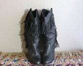 1980s Vintage Boots - 80s Black Leather Fringe Boots - size 6.5