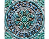 Art for Bathroom // Ceramic tiles // Bathroom Wall Art // Bathroom decor // bathroom tile // suzani #4 // Turquoise