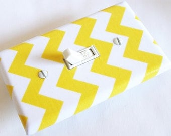 YELLOW CHEVRON Light Switch Cover Plate Switchplate Nursery Decor