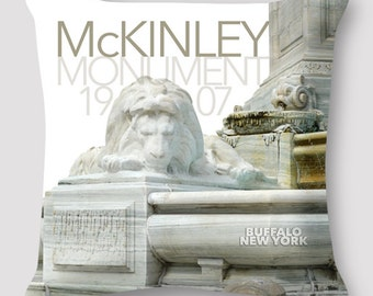 Pillow Photography Buffalo New York Pillow McKinley Monument History Pillow Hand Sewn Zipper Beautiful