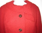 1950s 50s 60s / Cranberry Red 2-pc.Wiggle Dress/ Boxy Jacket / Mad Men / Jackie O / Party