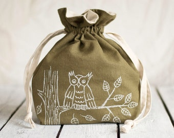 Hand Painted Owl Drawstring Bag in Khaki and White, Storage, Linen Accessories