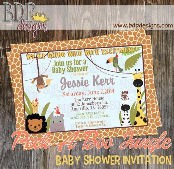 peek a book jungle baby shower invitation digital download or prints