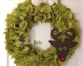 "Burlap Reindeer Wreath 20"" Ready to Ship"