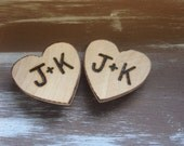 Set Of Two Personalized Wooden Hearts Magnets Stocking Suffer Christmas
