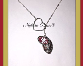 Choose your Team, San Francisco 49ers, Football Necklace, with Rhinestones and Heart, handmade jewelry, mom, birthday gift, christmas