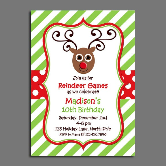 Reindeer Invitation Printable Or Printed With FREE SHIPPING