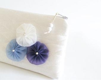 Snow White Wedding Bridal Clutch, Blue Flowers Purse, White Satin Clutch, Purple Themed Wedding Bag