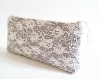 Gray Bridesmaid Clutch, Date Night Clutch, Wedding Lace Purse, Elegant Evening Handbag, Women Lace Wallet, Wholesale Clutches