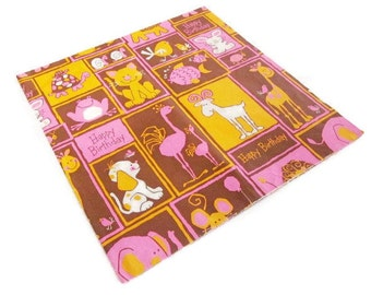Vintage Wrapping Paper - Animal Menagerie Happy Birthday Child - One Full sheet - Rust Craft