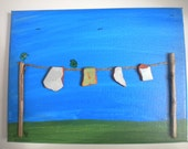 Washing Day Pebble Art Painting Picture Made with Beach Finds