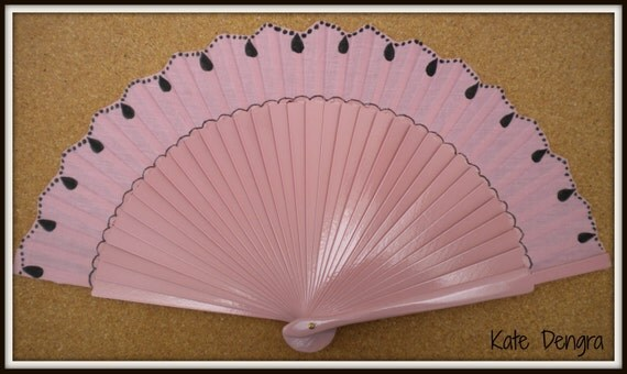 MTO Hand Fan Pink and Black Wooden Handheld