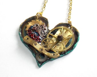 "Steampunk Necklace ""The Gears of the Heart No.4"""
