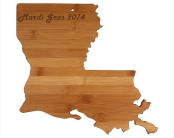 Engraved Louisiana Cutting Board - Louisiana Shaped Bamboo Cutting Board, Custom Engraved - Wedding Gift, Couples Gift, Housewarming Gift
