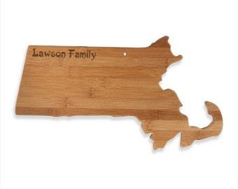 Engraved Massachusetts Cutting Board - Massachusetts Shaped Bamboo Board Custom Engraved - Wedding Gift, Couples Gift, Housewarming Gift