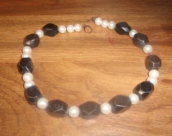 vintage necklace black glass faux pearls