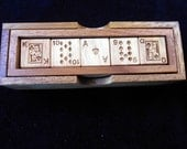 Poker Dice Deluxe in wood box set – 5 laser engraved hardwood cubes - no card repeated