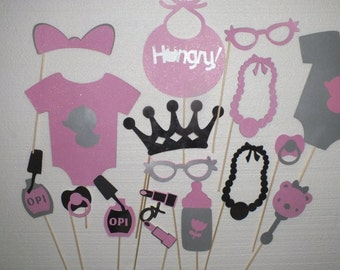 ITS A GIRL  silver and pink baby shower photo booth props 16pcs