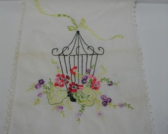 Vintage Embroidery Table Runner with Birdcage and Flowers and Crochet Edging