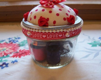 Mason Jar Pin Cushion Sewing Kit-Red & White Polka Dot