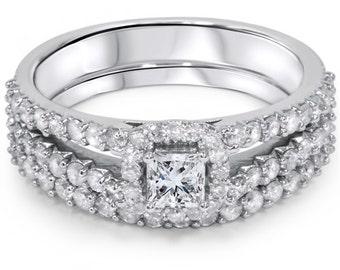 1.25CT Princess Cut Diamond Split Shank Halo Engagement Ring Set 10K White Gold  Size (4-9)