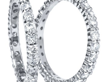 2.00CT Stackable Diamond Eternity Ring Set Engagement Guard Bands 14k White Gold