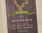 Pretty Deer, The Hunt is Over Save the Date, PRINTABLE, Hunting Wedding Announcement, Hunting Save the Date, Country Save the Date