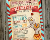 Vintage Circus Birthday Invitation, PRINTABLE Circus Invitation, Birthday Circus Invitation, Carnival Circus Invitation, ID: BD125920