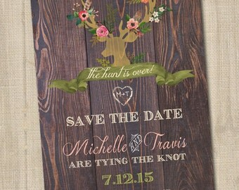 The Hunt is Over Save the Date, Deer Save the Date, Hunting Wedding Announcement, Hunting Save the Date, The Hunt is Over Wedding PRINTABLE