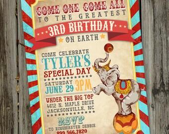 Vintage Circus Birthday Invitation, Circus Invitation, Birthday Circus Invitation, Carnival Circus Invitation, PRINTABLE ID: BD125920