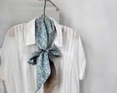 Sky Blue Repurposed Skinny Long Neck tie/ Scarf with Hand Embroidery. Organic Linen and Vintage Kimono Silk. Écharpe de soie