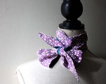 Skinny Silk Scarf .Vintage Kimono Silk /Organic Batiste. Lilac and Teal. Handmade Eco Fashion Accessory. Écharpe de soie .