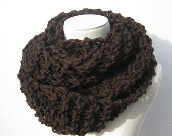 Wool Outlander cowl espresso brown hand knitted