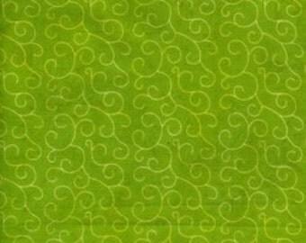 Green Scroll Batik Fabric, 100 Percent Cotton, by Island Batik, 1/2 yard cut