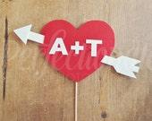 Felt Personalized Heart and Arrow Photo Prop | Add Your Initials | Cupid's Arrow Photo Prop | Valentines Heart Prop | Love Prop