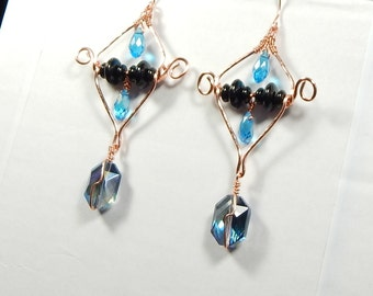 Copper, Onyx  and Crystal earrings.