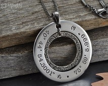 Popular Items For Latitude Longitude Necklace On Etsy