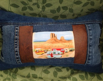 Travel Pillow - Repurposed Denim - Sisters On The Fly - Retro campers