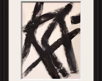 Original art, modern abstract on heavy art paper, titled DARK HORSE