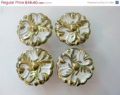 SALE Lot of 4 Vintage French Provincial Drawer Knobs White and Gold or Brass pulls
