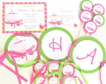 Tea Party Birthday Party Package, Tea Party Themed Party, Tea Party Invitation, Tea Party Banner, Tea Party Thank You Cards, Tea Cup Invite