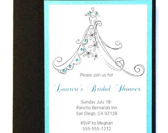 Bridal Gown Shower Invitation, Hand Stamped Bridal Shower Invite, Aqua Bridal Shower, Bridal Shower Invitation, Hand Stamped Wedding Dress