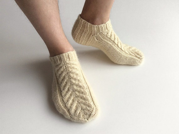 Knitting Pattern For Ankle Socks : Braid Cable Ankle Socks Hand Knitted 100% Natural