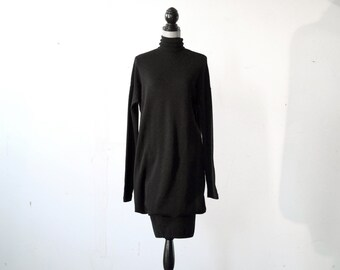 80s Dolman Black Knit Turtleneck Sweater Dress
