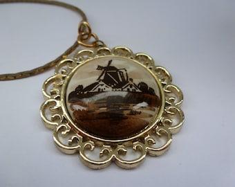 Vintage Delft Holland Pendant Necklace Vintage Delft Necklace