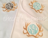 Monogrammed Baby Boy Gift Set Gown Bib Burp Cloth - baby shower gift - hunting baby gift - baby gift set